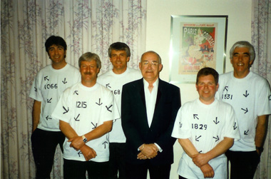 Tim, Denis, stand in drummer Gary Wilcox, Comedian Jim Bowen, Glenn and former bassist Graham Le Poidevin. Back stage at Beau Sejour 1995 after Police Ball function