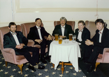 "Colin, Martin (then a stand in bassist) Denis, Glenn & Tim at the Hotel de France, Jersey between sets for ""The Wooden Spooners"" charity event - circa 2000"